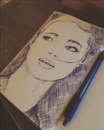 girl pen sketch